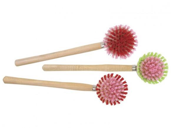RICE Spülbürste mit Holzgriff helle Farben