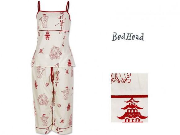 Camisole/Capri Set Red Asian Cotton von BedHead
