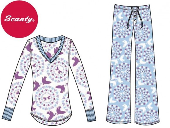 Cotton jersey Pyjama-Set Dovehearts von Scanty