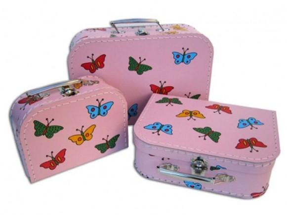 Kinderkoffer in rosa mit Schmetterlingen von TOYS & Company