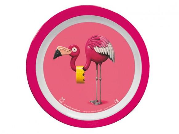 Teller aus Melamin mit Flamingomotiv von Scratch