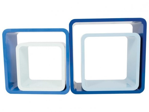 Quadratische Regal-Boxen in Blautönen von Sebra