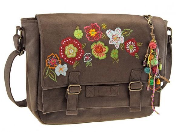 Canvas Tasche mit Blumen in braun von Wendekreis