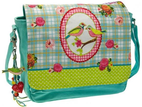 Canvas-Tasche mit Vögeln und Rosen von Wendekreis