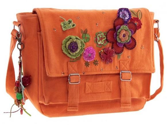 Canvas Tasche mit Blumen in orange von Wendekreis