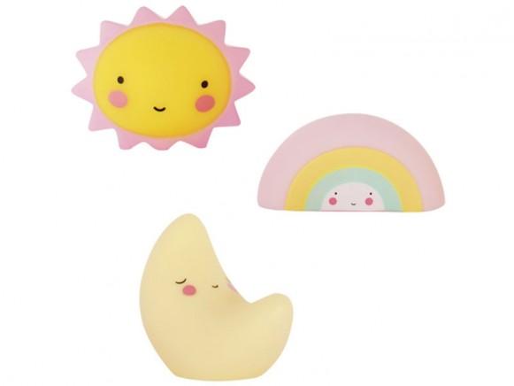 A Little Lovely Company Minis Sonne, Mond und Regenbogen