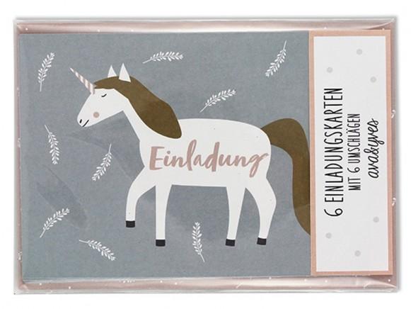 Ava & Yves Einladungskarten Set EINHORN