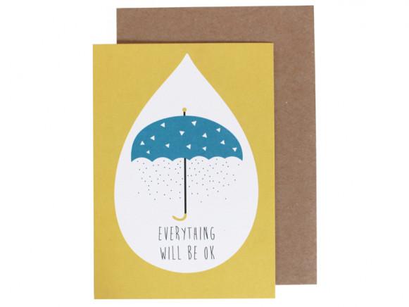 "Ava & Yves Grußkarte SCHIRM ""Everything will be ok"""