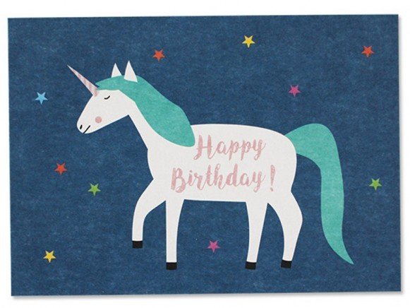 Ava & Yves Postkarte EINHORN Happy Birthday