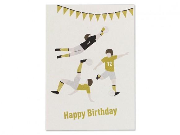 Ava & Yves Postkarte FUSSBALL Happy Birthday