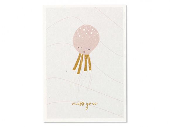 "Ava & Yves Postkarte QUALLE ""Miss You"""