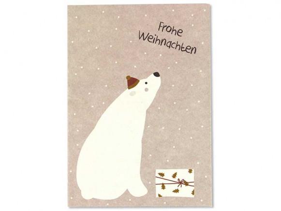 """Ava & Yves Postkarte EISBÄR """"Frohe Weihnachten"""""""