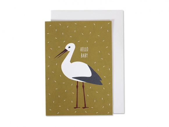 Ava & Yves Grußkarte HELLO BABY Storch ocker