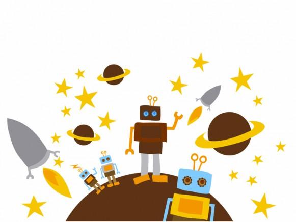 Blafre Wandsticker Roboter