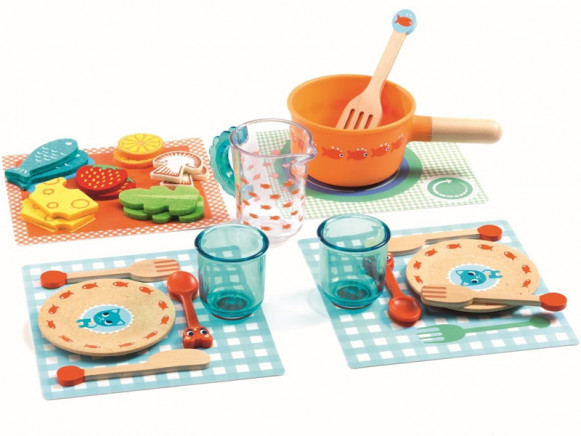 Djeco Rollenspiel Kinderküche Dinner Set KÄTZCHEN