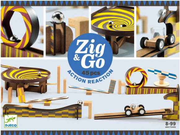 Djeco Domino Rennstrecke Zig & Go 45 Teile