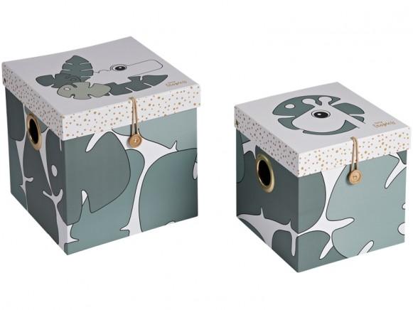 Done by Deer 2er-Set Aufbewahrungsboxen TINY TROPICS groß