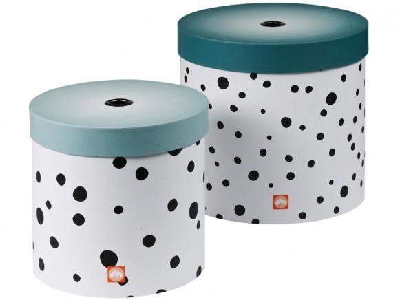 Done by Deer runde Boxen Set Punkte blau