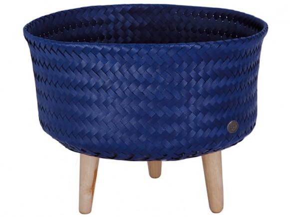 Handed By Korb mit Holzfüßen UP LOW dunkelblau