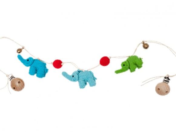HickUps Kinderwagenkette ELEFANT blau