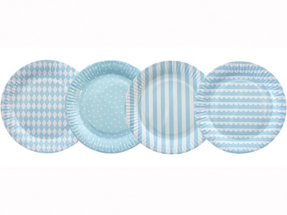 Jabadabado Party Pappteller hellblau-weiß