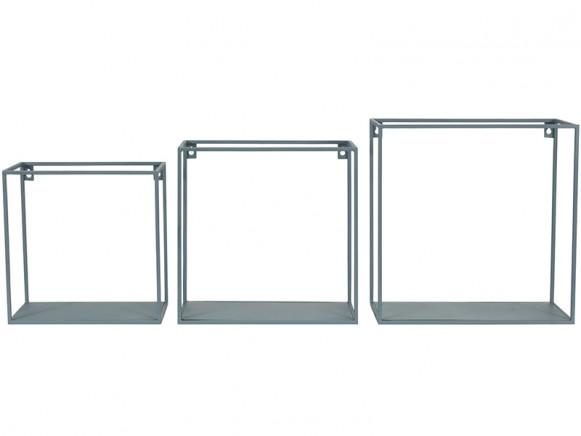 KidsDepot quadratisches Metallregal 3er Set BLAU