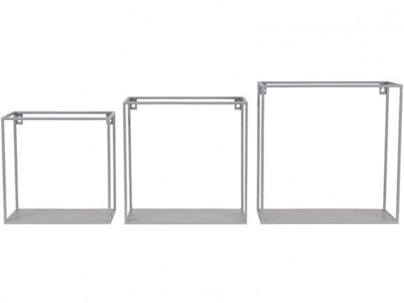 KidsDepot quadratisches Metallregal 3er Set GRAU
