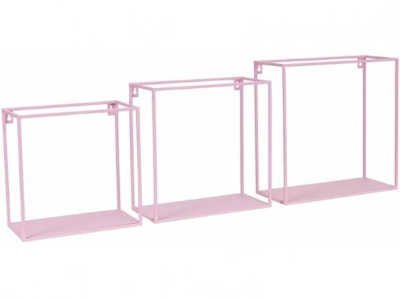 KidsDepot quadratisches Metallregal 3er Set ROSA