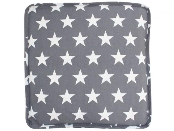 Krasilnikoff Sitzkissenbezug dunkelgrau mit Sternen weiß
