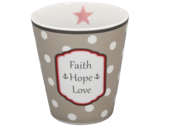 Krasilnikoff Becher Happy Mug Faith Hope Love