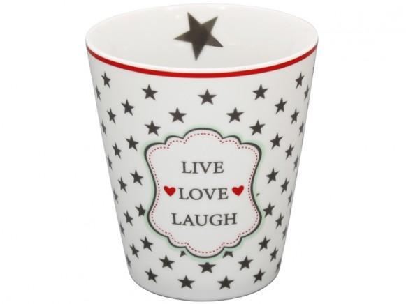 Krasilnikoff Becher Happy Mug Live Love Laugh weiß