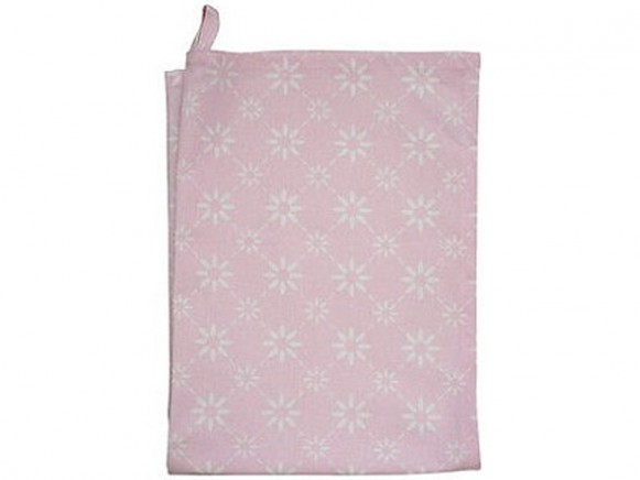 Krasilnikoff Geschirrtuch rosa mit diagonalem Blumenmuster