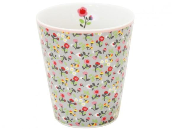 Krasilnikoff Becher Happy Mug Blumen grau
