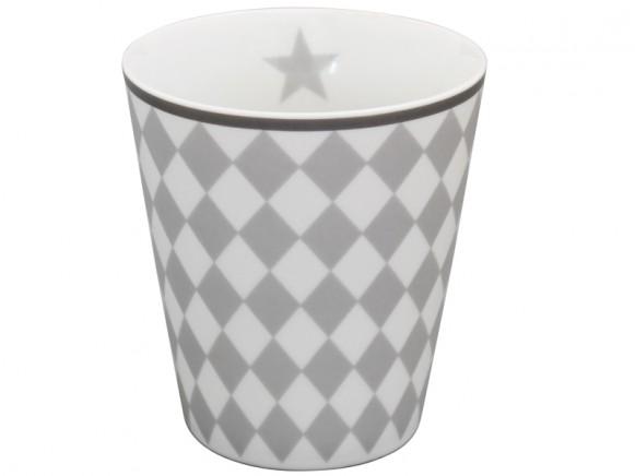 Krasilnikoff Becher Happy Mug Harlekin hellgrau