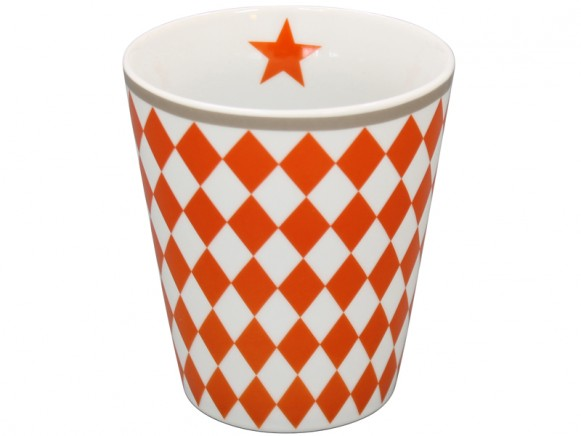 Krasilnikoff Becher Happy Mug Harlekin orange