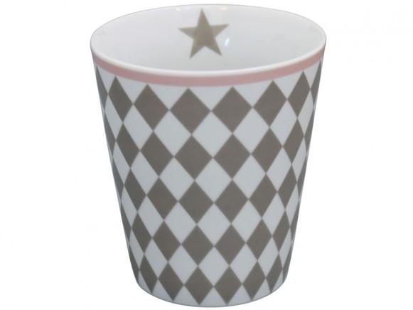 Krasilnikoff Becher Happy Mug Harlekin taupe