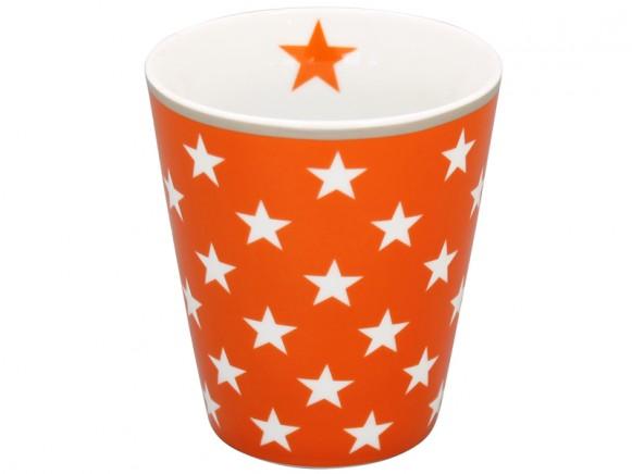 Krasilnikoff Becher Happy Mug Sterne orange