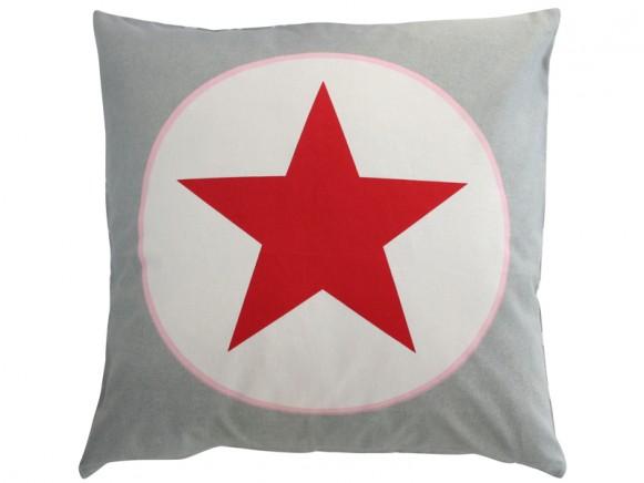 Krasilnikoff Kissenbezug grau Stern rot