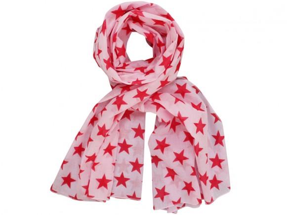 Krasilnikoff Schal rosa mit roten Sternen