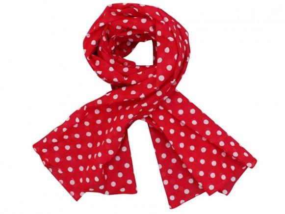 a38679df3ac743 Krasilnikoff Schal rot mit weißen Punkten - TakaTomo.de