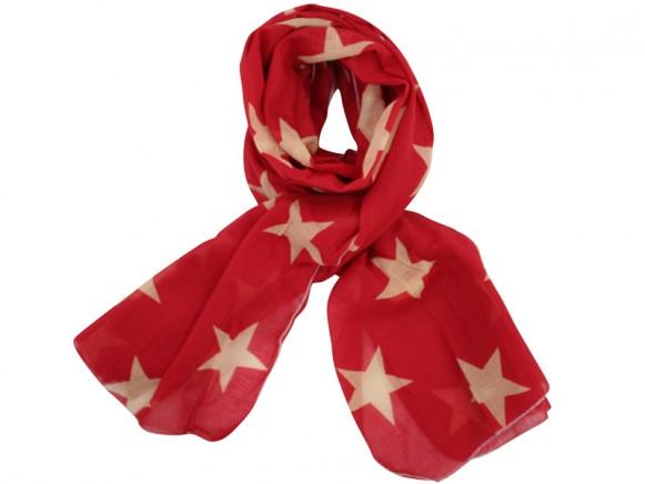 Krasilnikoff Schal Sterne rot