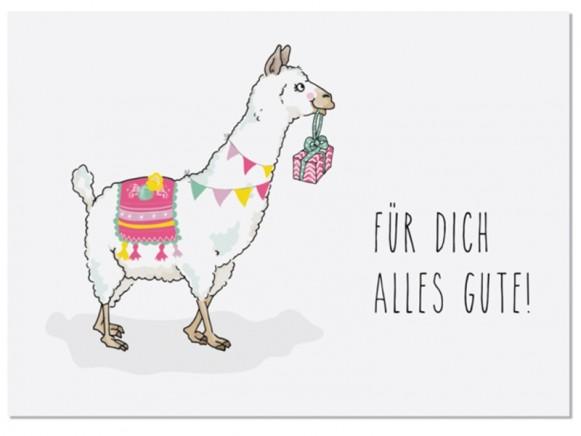 "krima & isa Postkarte LAMA ""Für Dich alles Gute!"""