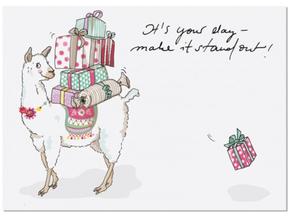 """krima & isa Postkarte LAMA """"It's your day - make it stand out"""""""