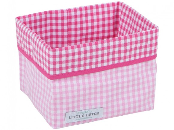 Little Dutch Wickeltischkörbchen Karos rosa klein