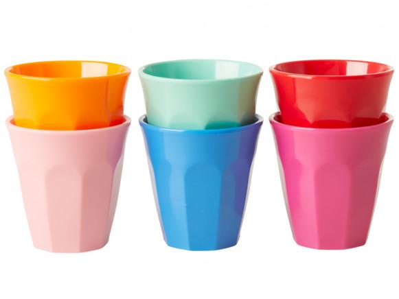 RICE 6 Melamin Espresso Becher CHOOSE HAPPY Farben