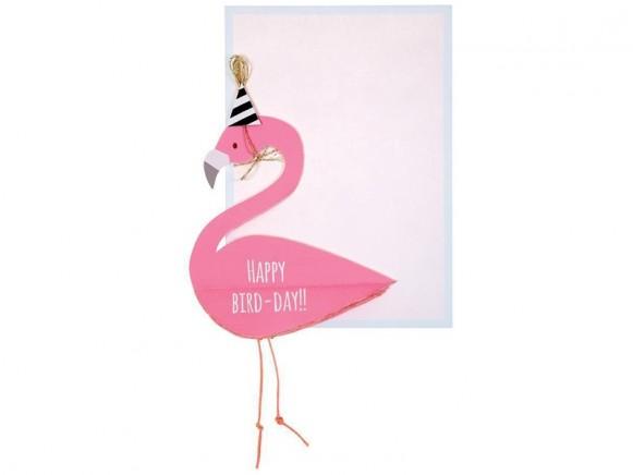 Meri Meri Grußkarte mit Aufhänger FLAMINGO