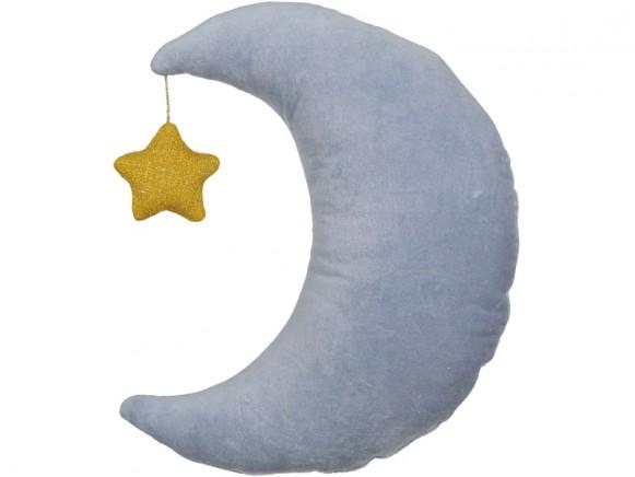 Meri Meri Kissen Samt MOND blau mit Stern gold