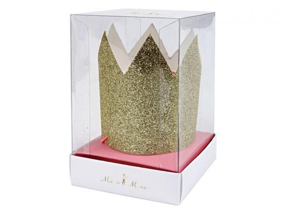 Meri Meri 6 Mini KRONEN gold-glitzer