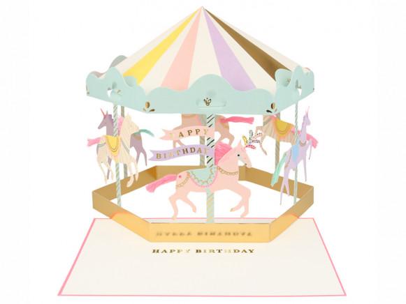 Meri Meri 3D-Grußkarte KARUSSELL Happy Birthday
