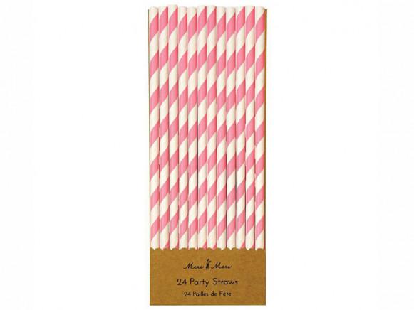 Meri Meri 24 Strohhalme aus Papier PINK